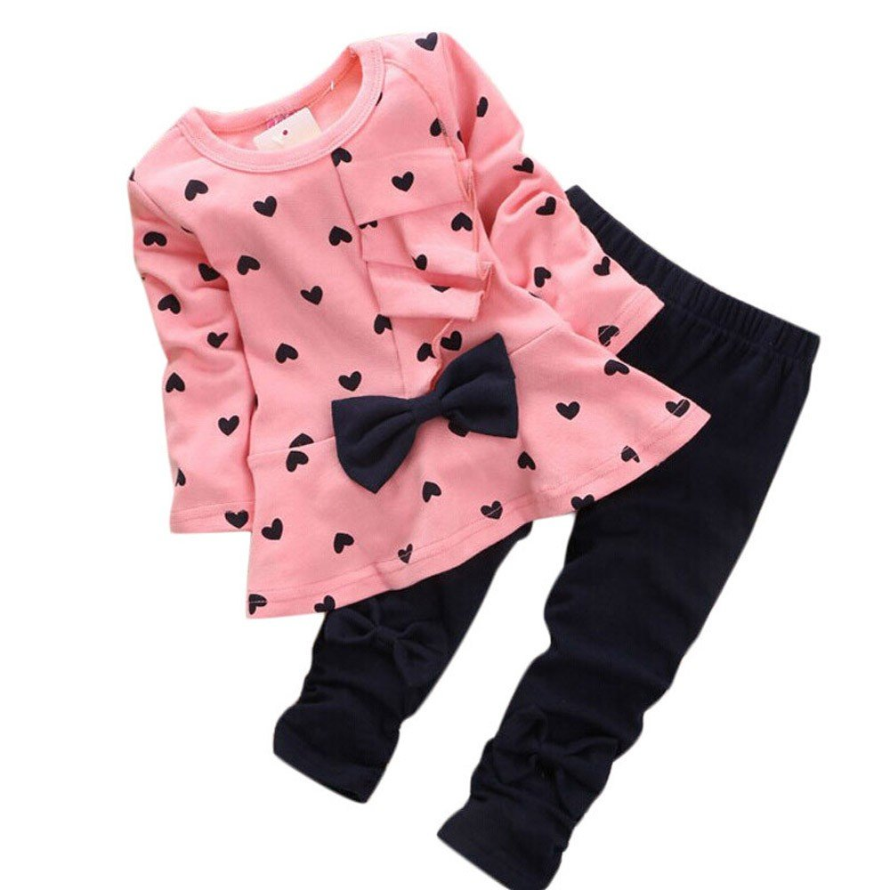 Baby Outfits for Girls,New Baby Sets Heart-Shaped Print Bow Cute 2PCS Kids Set T Shirt + Pants,Boys' Clothing,Pink,0-3M