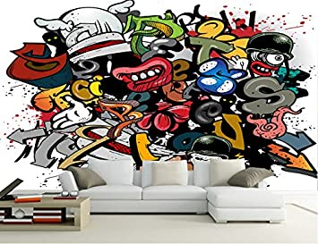Kuamai Custom Papel De Parede Infantil Cartoon Graffiti 3d Cartoon