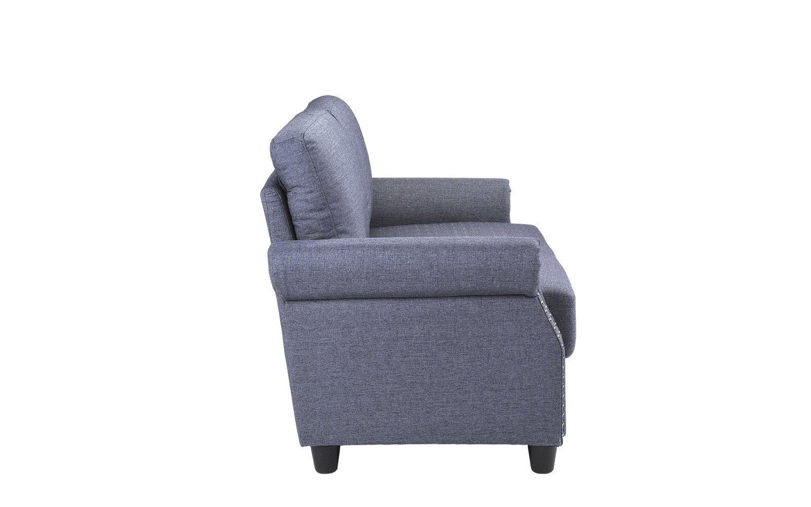 Classic Living Room Linen Loveseat with Nailhead Trim and Storage Space (Blue) by Sofamania (Image #4)