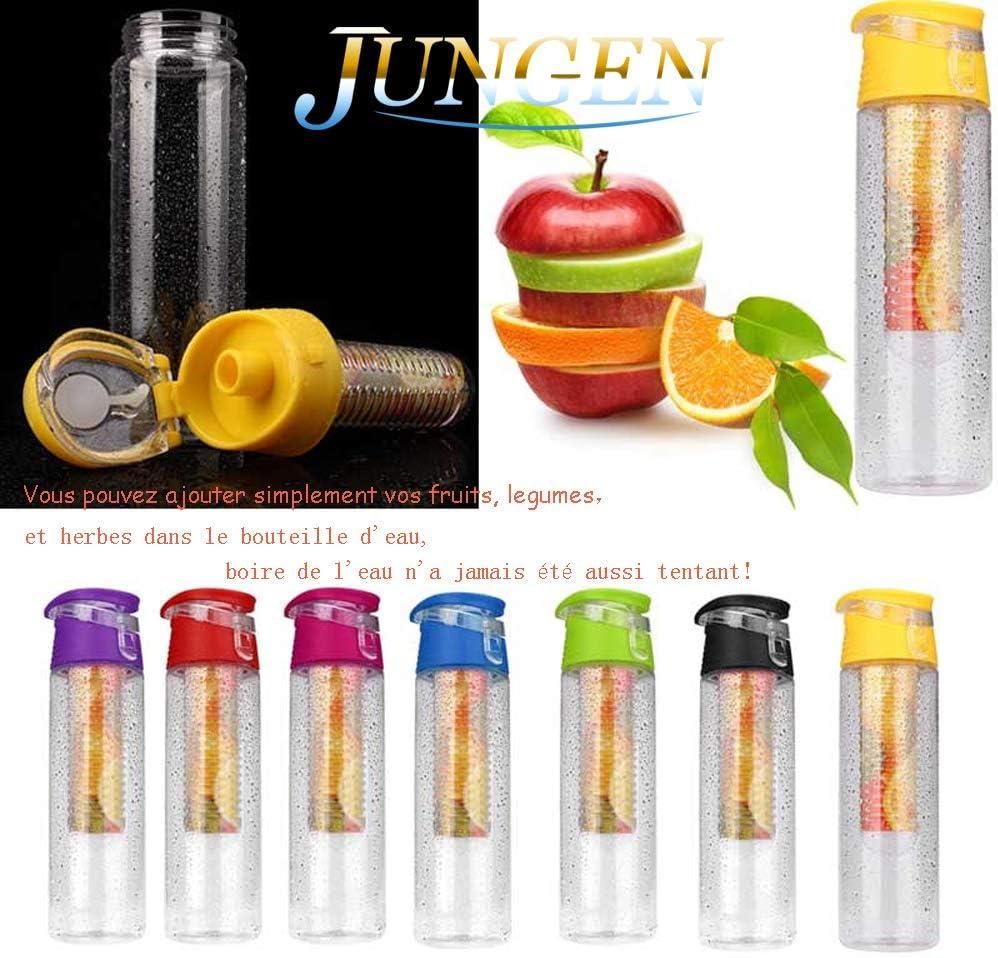 JUNGEN 800ML Fruit Infusant Bouteille deau avec infuseur de Fruits et Flip Lid Jus de Citron Faire sans Bouteille