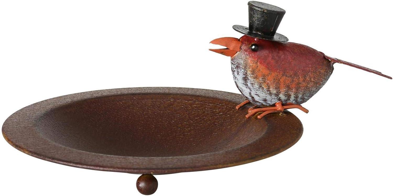 CasaJame - Bebedero para pájaros (metal, 13 x 22 cm, hierro), diseño de pájaro, color marrón envejecido