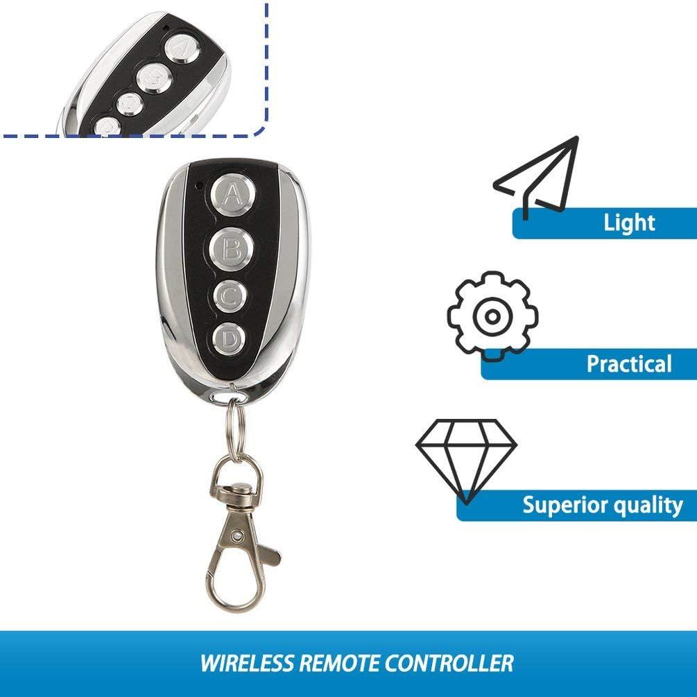 U-f/örmige 433 MHz Wireless Universal Copy Fernbedienung Metall 4 Schl/üssel Garagentor Duplizierer Mini Tragbare Schl/üsselanh/änger Controller-Black /& Silver