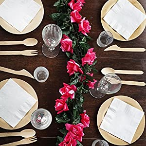 Tableclothsfactory 6 FT Long 3D Chain Artificial Rose Garlands Wedding Supply - Fuchsia 79