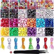 Faruxue 1000 peças de contas de pulseira ABC, artesanato DIY para fabricação de joias com 8 rolos, pulseira el