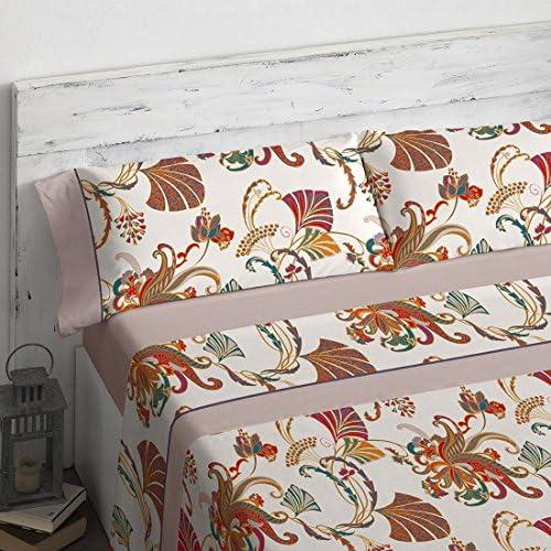 Burrito Blanco Juego de Sábanas 19 Matrimonial 180x190 cm hasta 180x200 cm 4 Piezas (1 Sábana Encimera, 2 Fundas de Almohada, 1 Sábana Bajera) Estampado Ornamental, Beige y Rojo: Amazon.es: Hogar
