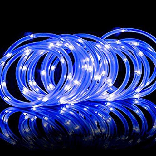 Outdoor Rope Lighting Blue, Solar Powered Waterproof Led Tube 10M Lights For Garden Yard Tree Fence Christmas Landscape Decorative Roll Light (Solar Powered Led Tube)