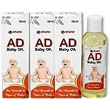 Afflatus Ayurvedic AD Vitamin Baby Massage Oil 100ml for Healthy Babies || Fairness Skin & Rich Moisturizer (Pack of 3)
