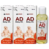Afflatus Ayurvedic AD Vitamin Baby Massage Oil 100ml for Healthy Babies || Fairness Skin & Rich Moisturizer (Pack of 3)