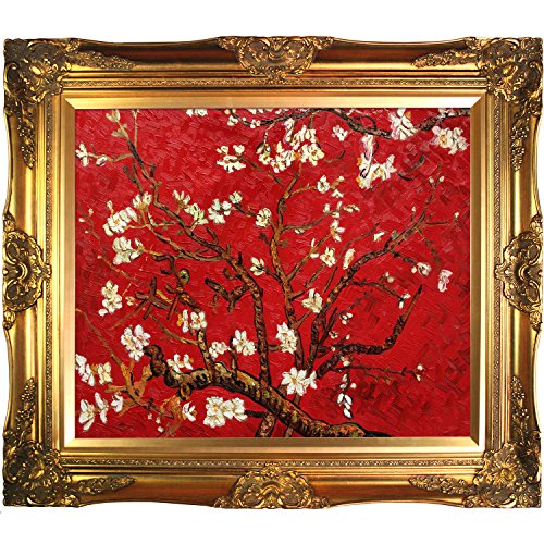 Painted Original Artwork - La Pastiche Branches Of An Almond Tree In Blossom, Ruby Red Framed Hand Painted Original Artwork With Victorian Gold Frame