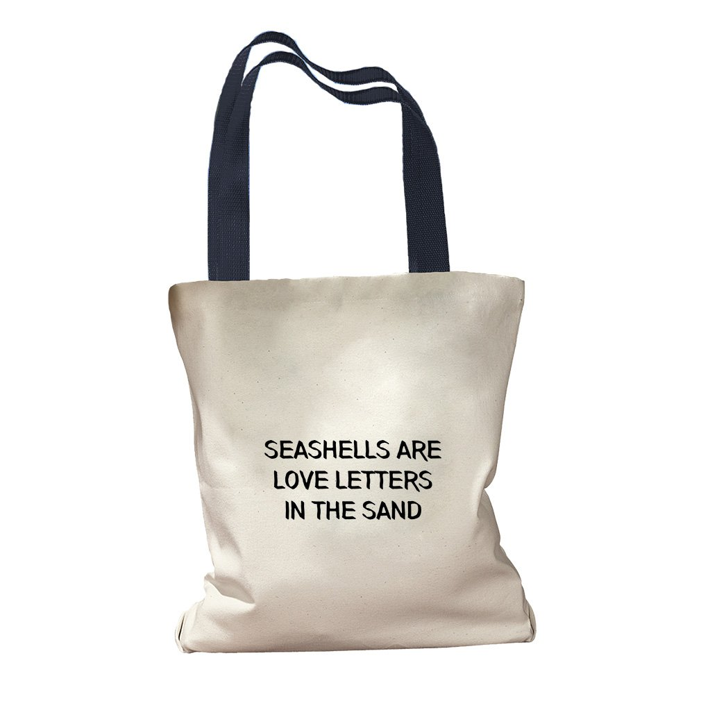 Seashells Are Love Letters In The Sand Canvas Colored Handles Tote - Navy