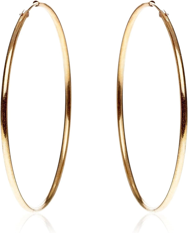 Córdoba Jewels | Pendientes en plata de Ley 925 bañado en oro. Diámetro 60 mm. Diseño Aro Oro