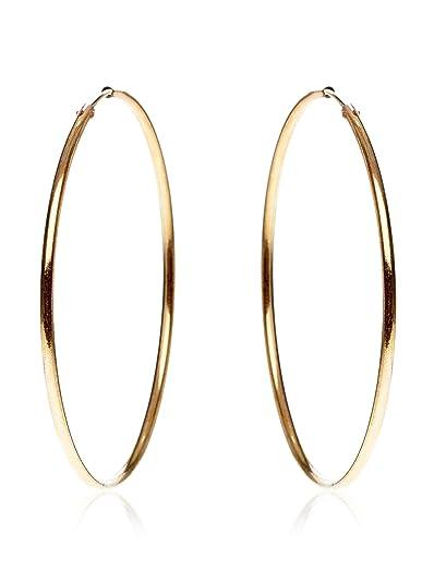 Córdoba Jewels | Pendientes en plata de Ley 925 bañado en oro. Diámetro 60 mm. Diseño Aro Oro: Amazon.es: Joyería