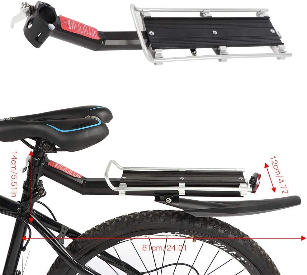 Bike Rear Panniers Luggage Rack Carrier Shelf Bracket-Mountain Bike Bicycle Carrier Rack Seat Post Rear Shelf Holder Aluminum Alloy with Fender and Reflector for Cycling Camping Touring Sport
