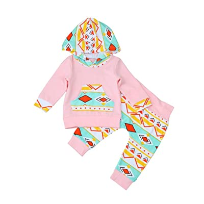 2 Pcs/Set Toraway Newborn Toddler Baby Girls Geometric Long Sleeve Hooded Blouse+Pants Outfits Clothes Set