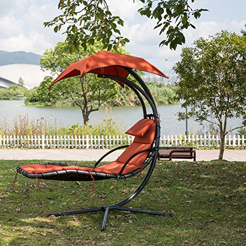 PatioPost Outdoor Hanging Chaise Lounger Chair Swing Hammock Arc Stand Air Porch Canopy, Orange - Lounger Canopy