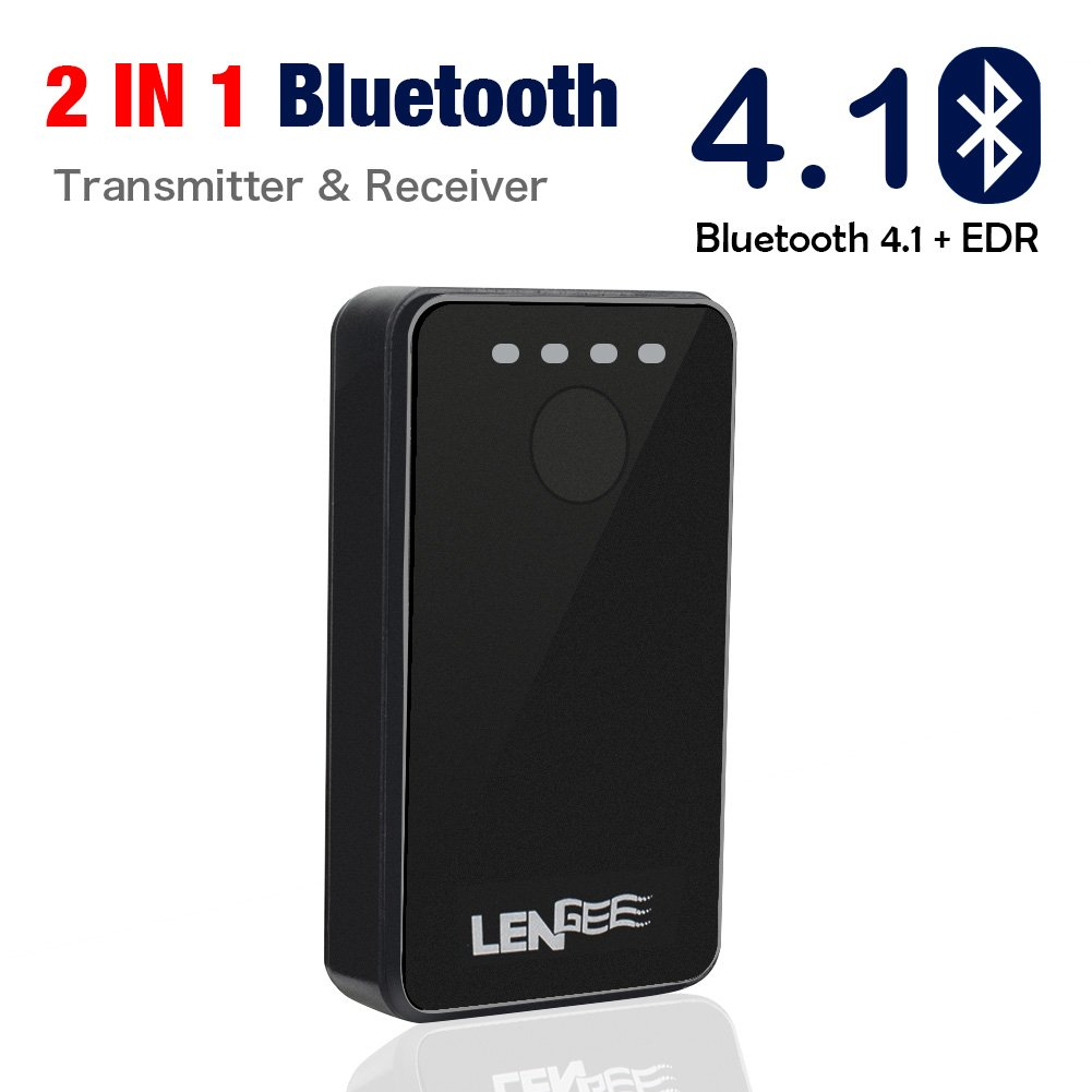 Bluetooth Transmitter & Receiver, Lidiwee LENGEE B8 Bluetooth 4.1 + EDR Audio Adapter 2-in-1 Music Bluetooth Adaptor, 3.5mm AUX Output Home/Car Stereo, Speaker, Headphone, TV, Tablet, MP3, MP4