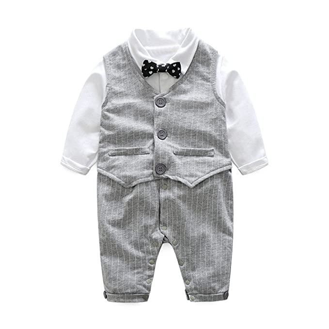 15473699c Amazon.com  Baby Boys Infant Gentleman Suit Bow Tie Romper Jumpsuit ...