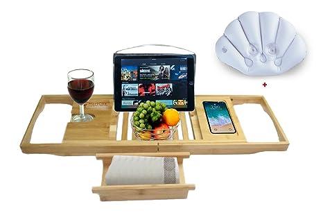 Bandeja de baño de bambú, organizador de copas de vino, estante de lectura, lateral extensible con soporte para toalla ...