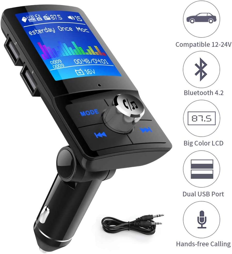Bluetooth FM Transmitter for Car 1.8 Inch Color Screen Radio Transmitter with Hands free Calling Music Player Support TF Card USB Flash Drive AUX Input//Out