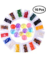 KUUQA 16 Pack 12 Colors Water Beads, Crystal Gel Water Pearls 200 Beads per Pack Water Growing Balls-Party Supplies, Wedding Decorations