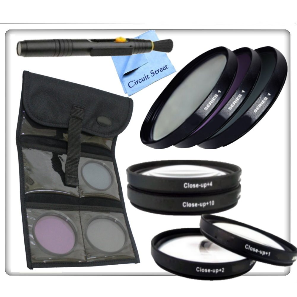 Complete 77mm Lens Kit For The Canon Rebel XT (EOS 350D), XTi (EOS 400D), XSi (EOS 450D), T1i (EOS 500D) XS (EOS 1000D), T3 (EOS 1100D) Digital SLR Cameras: Includes: 4 Piece Macro Lens Kit, 3 Piece Professional Filter Kit, Lens Cleaning pen & CS Microfib