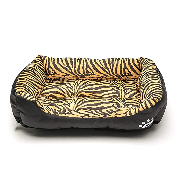 Mascota Cama Impermeable Kennel Tiger PatróN De Leopardo para Gatos Y PequeñOs Perros Medianos Puede Lavar A MáQuina Confortable Siesta,Tigerpattern,S: ...