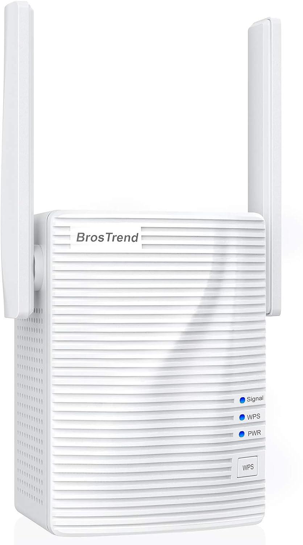 Repetidor wifi BrosTrend 1200Mbps, amplificador wifi, extensor wifi, intensificador wifi, amplía cobertura inalámbrica doble banda 5 GHz, 2.4 GHz, ...
