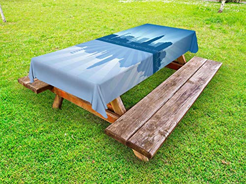 Ambesonne Nebraska Outdoor Tablecloth, Lincoln City Skyline Silhouette Illustration in Blue Metropolis Buildings, Decorative Washable Picnic Table Cloth, 58