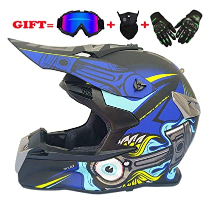 NF Adulto Motocross Casco MX Moto Casco ATV Scooter ATV Casco Gafas Máscaras Guantes Máscara (
