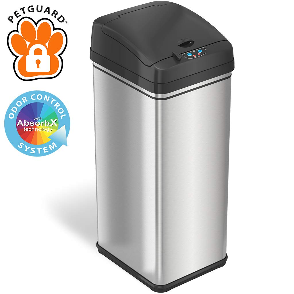 iTouchless 13 Gallon Pet-Proof Sensor Trash Can with AbsorbX Odor Filter Kitchen Garbage Bin Prevents Dogs & Cats Getting in, Stainless Steel with PetGuard, Battery and AC Adapter (Not Included)
