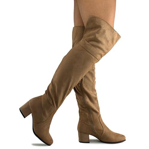 Premier Standard Women's Over The Knee Stretch Boot - Trendy Low Block Heel Shoe - Sexy Over The Kne...