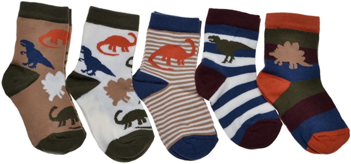 5 pairs of Dinosaur designs boys socks