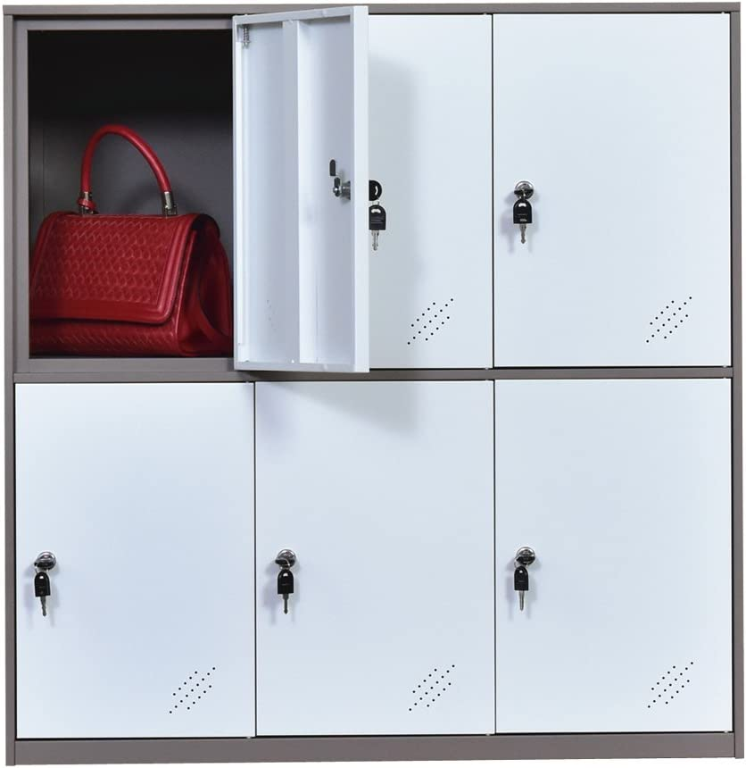 MECOLOR-Steel Office Locker Cabinet with Keys, School and Home Storage Locker Organizer,Kids Locker for Cloth and Toy Organizer,Living Room Boy and Girl Metal Storage Locker Cabinet (White)