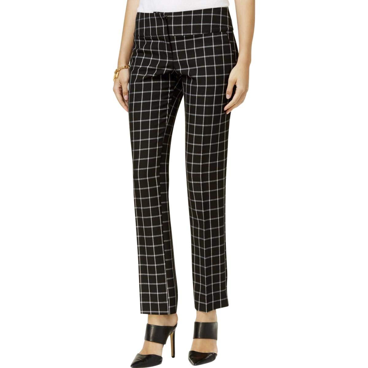 BCX Deep White Women's Stretch Plaid Printed Pants Black 9