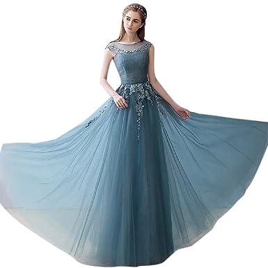 BessWedding Lovely Long Green Tulle Scoop Sleeveless Evening Dresses Prom 2
