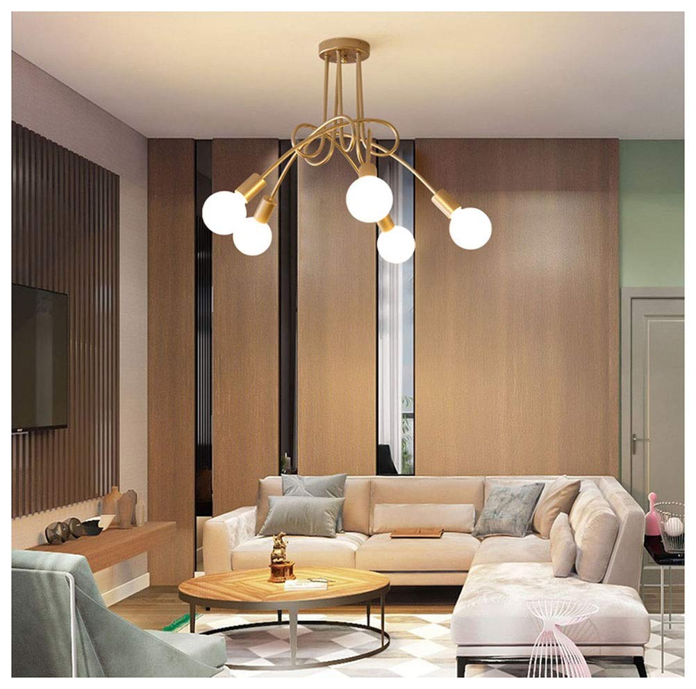 GG_L LEDペンダントライトシンプルでシンプルな天井照明金属5ヘッドシャンデリアダイニングルームバーE27   B07TYWC87X