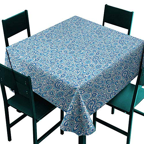 Warm Family Paisley Easy Care Tablecloth Moroccan Old Fashioned Ottoman Mosaic Flowers Leaves Arabesque and Shabby Indoor Outdoor Camping Picnic W54 x L54 Violet Blue White