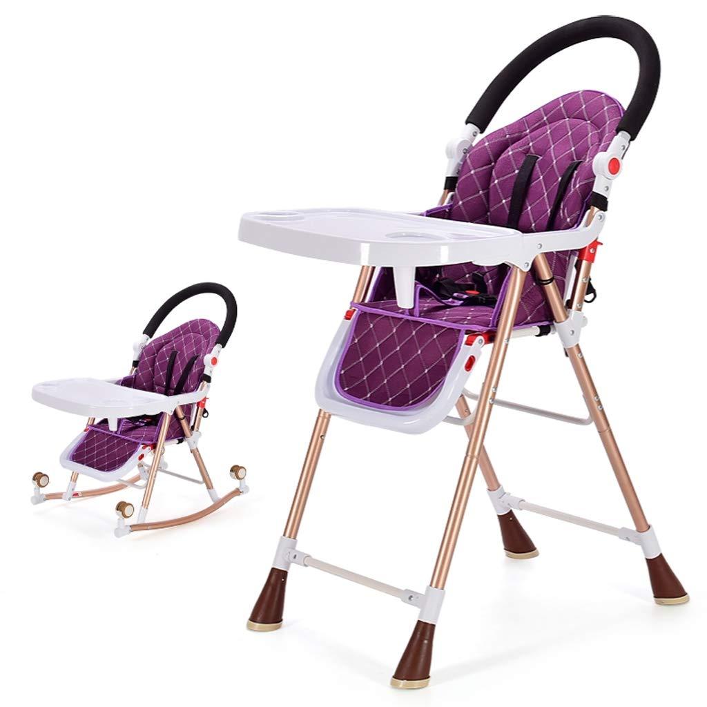 子供用ダイニングチェア、マルチファンクション4 in 1可動式折り畳み式調節テーブル付きの調節可能な食卓子供用ハイチェア、家庭用、0-6歳の子供用 (色 : Purple)  Purple B07KXSN61J