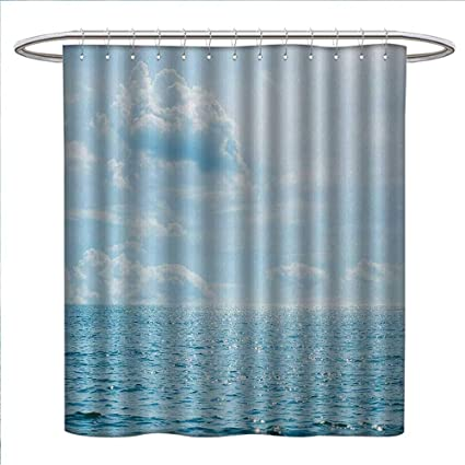 Anniutwo Clouds Shower Curtains With Hooks Sea And Sky Combined Mixed Each Other Vivid Life