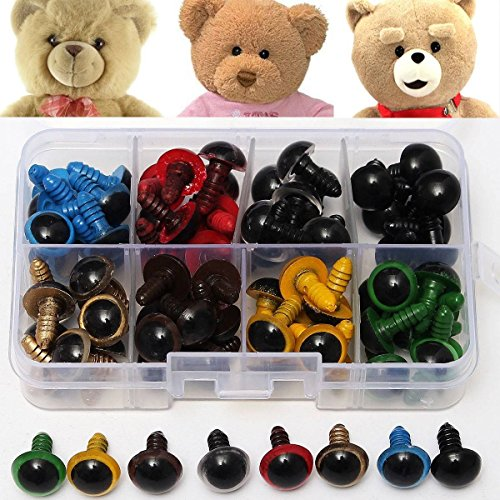 Doll Eyes Plastic - Plastic Animal Eyes - 80Pcs 12mm 8Colors Plastic Safety Eyes Washers Kids Teddy Bear Doll Animal Toys Craft Tool (Plastic Toy Eyes) ()