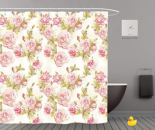 Queer Halloween Costume Ideas (iPrint Shower Curtains 2.0,Beautiful Seamless Floral Pattern Flower Vector Illustration Elegance Wallpaper With Of Pink,Waterproof Bathroom Shower Curtain Set with Hooks,Updated version,Durable)