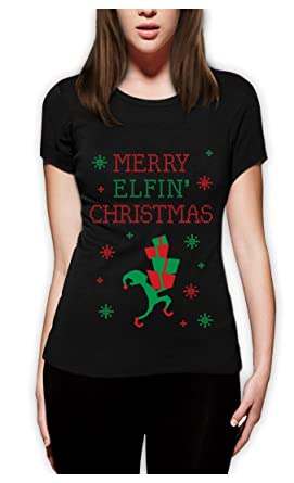 Merry Elfin Christmas Funny Ugly Christmas Sweater Women Fitted