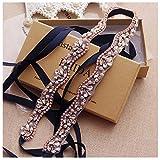 Yanstar Hand Rose Gold Rhinestone Pearls Wedding Bridal Belts Sashes Wirh Black Ribbon For Bridal Bridesmaid Gowns