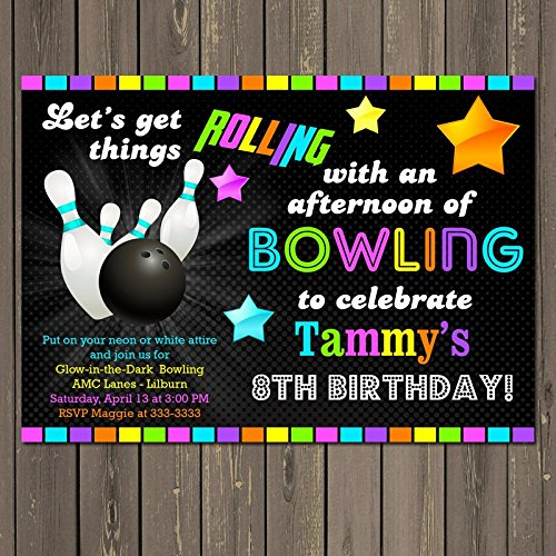 Image Unavailable Not Available For Color Bowling Glow In The Dark Themed Birthday Party Invitation