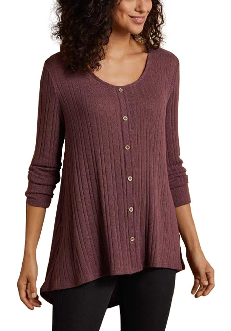 iGENJUN Women's O-Neck Wooden Buttons Placket Tunic Tops,Burgundy,L