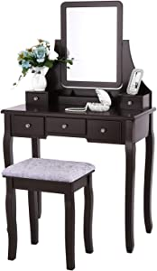 related image of             BEWISHOME Vanity Table Set with Mirror &