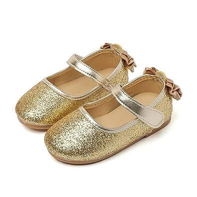 TINHAO フォーマルシューズ 子供靴 女の子 ドレス用 プリンセス風 蝶結び ゴールド 発表会 結婚式