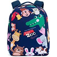 Bebamour Mochila para niños Mochila Escolar Mochila para Unisex Mochila para niños The Zoo Pattern (Azul Oscuro)