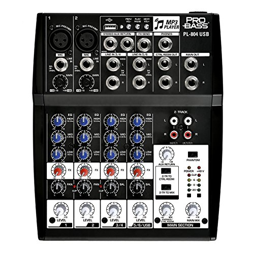 Pro Bass PL-804 USB Professional Audio Mixing Console 8 Channels, 3 Bands EQ +48 Phantom Power MP3 Player by Pro Bass