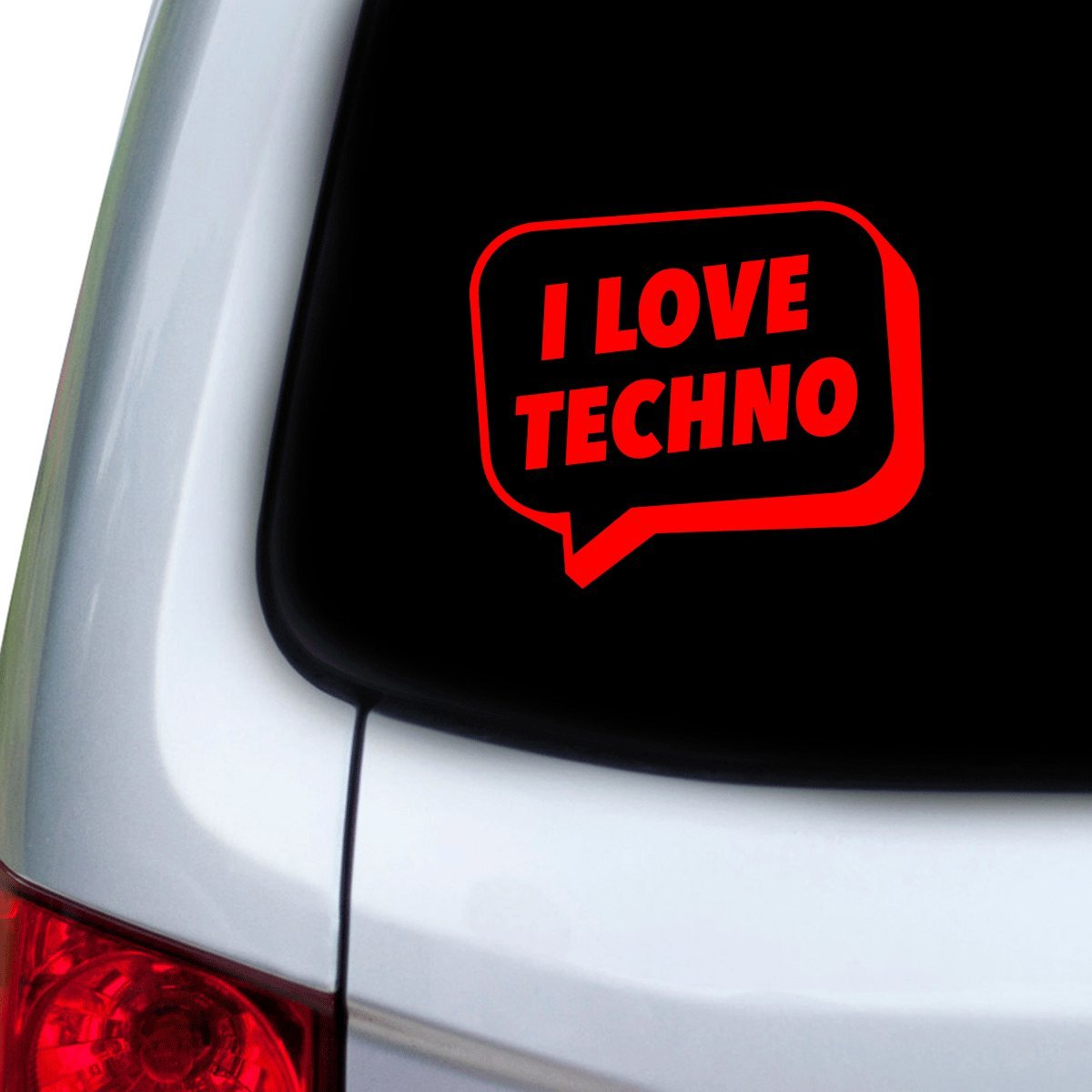 StickAny Car and Auto Decal Series I Love Techno Speech Bubble Sticker for Windows Red Hoods Doors